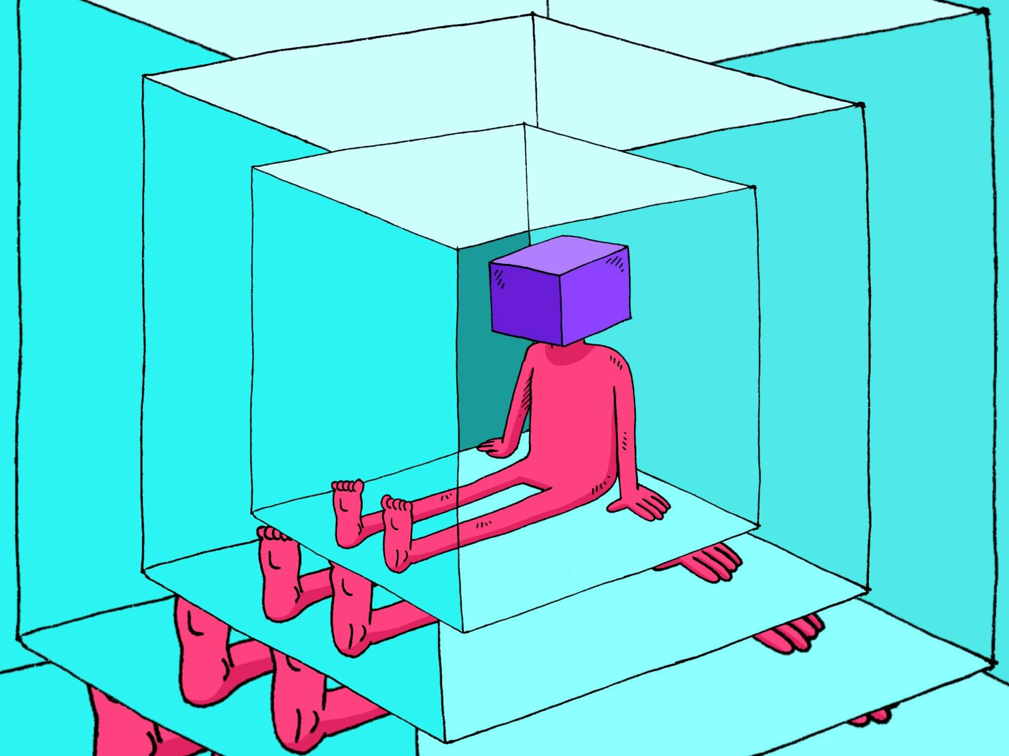 Illustration of man with square head trapped in square box