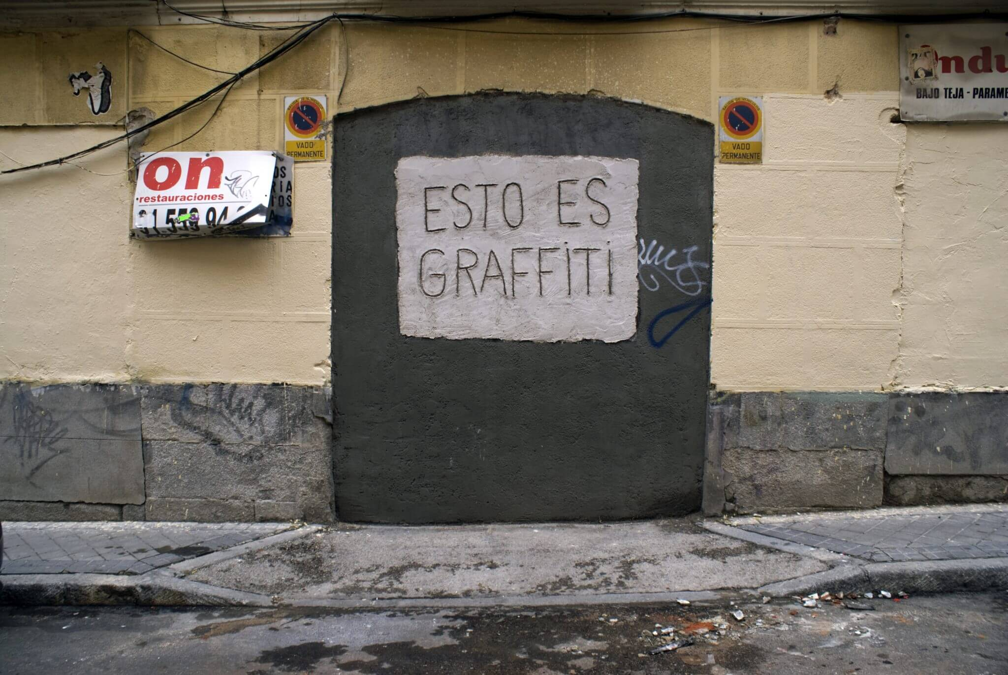"Street art which reads ""This is Graffiti"" (Photo by Rafael Schacter)"