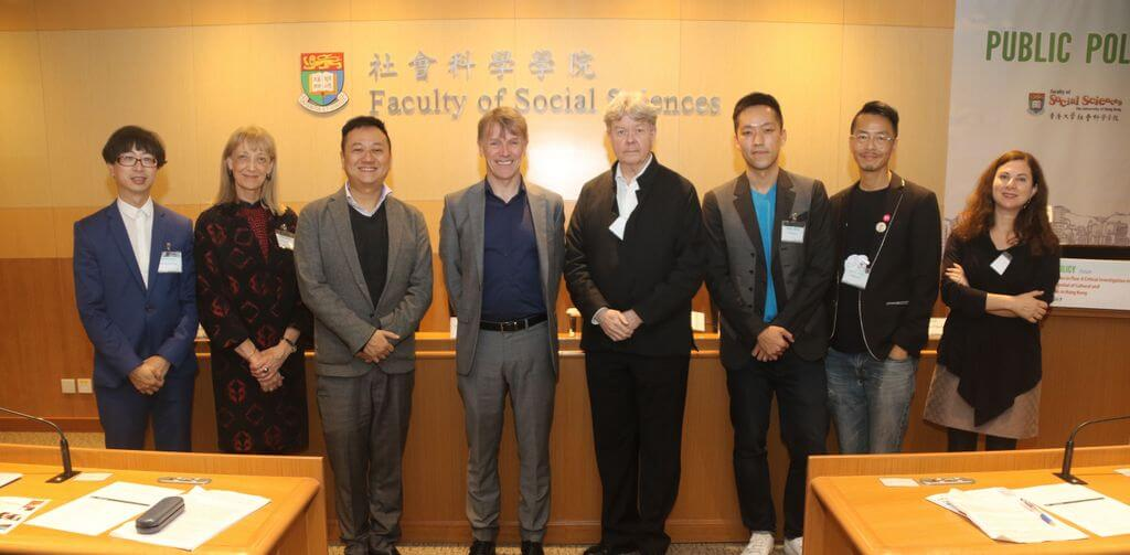 Group photo at the forum (from left to right): Professor Anthony Fung, Dr Anne Peirson-Smith, Dr Travis Kong (Associate Dean of Faculty of Social Sciences, HKU), Professor David Hesmondhalgh (keynote speaker), Professor John Burns (Dean of Faculty of Social Sciences, HKU), Dr Tommy Tse, Dr Chow Yiu Fai, and Dr Sylvia Martin